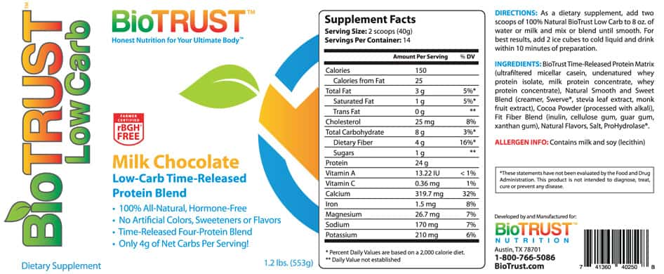 label lowcarb milkchocolate BioTrust Low Carb Protein Review