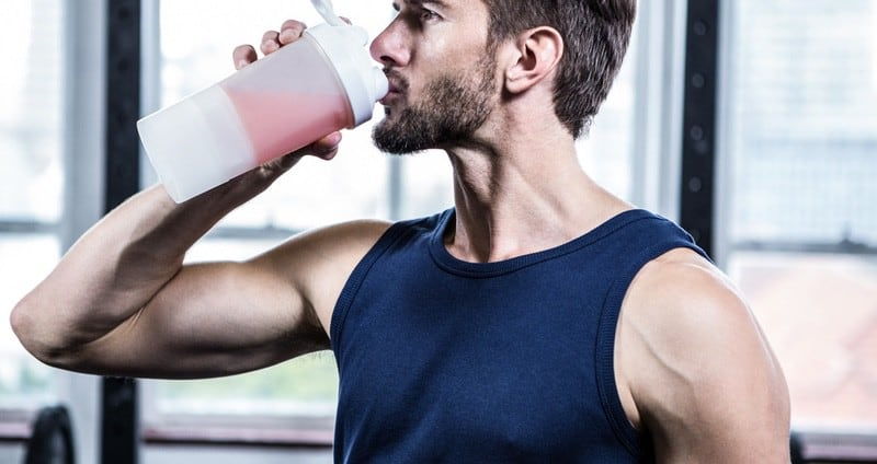 guy drinking protein shake