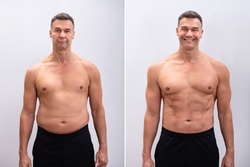 Males Intermittent Fasting Results After 1 Month before after