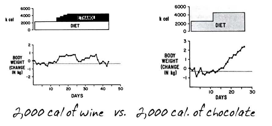 wine vs chocolate body weight change