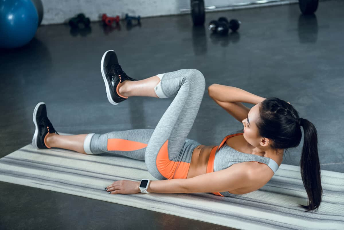 bicycle crunches with knees bent